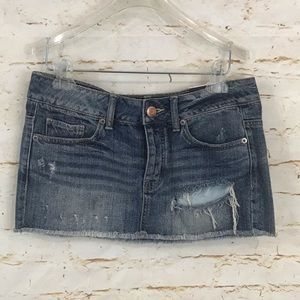NWT American Eagle 2 jean mini skirt distressed